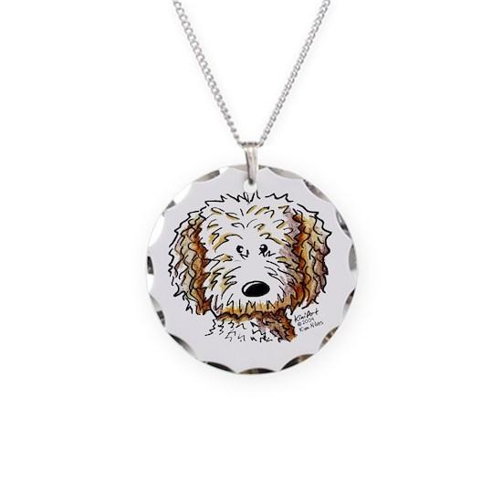Doodle Dog Face Necklace Circle Charm