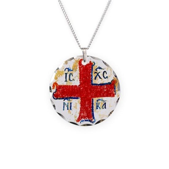 Greek Cross IC XC NIKA Necklace Circle Charm