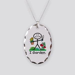 Gardening Stick Figure Necklace Oval Charm