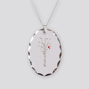 Winter Birch Tree Cardinal Bird Necklace