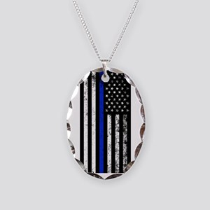 Vertical Distressed Police Flag Necklace Oval Char
