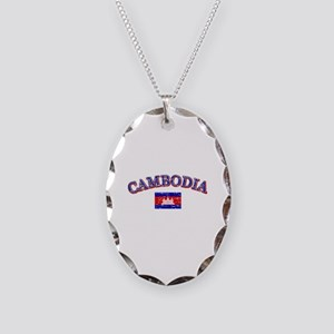 Cambodia Flag Designs Necklace Oval Charm