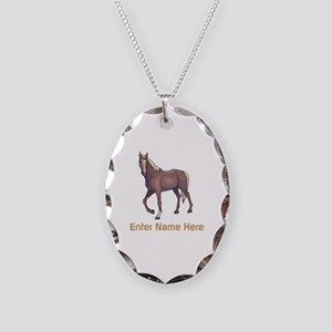 Personalized Horse Necklace Oval Charm