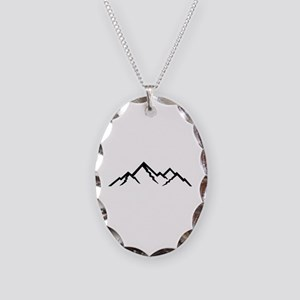 Mountains Necklace Oval Charm