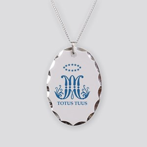 Ave Maria, Totus Tuus Necklace Oval Charm