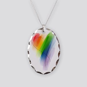 watercolor-rainbow-heart_tr Necklace Oval Charm
