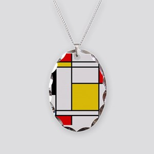 Mondrian Lines Necklace Oval Charm