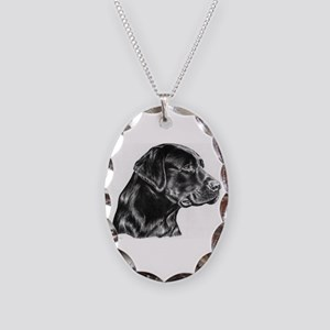 Black Lab drawing Necklace Oval Charm