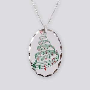 Christmas tree with music note Necklace Oval Charm