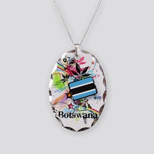 flower1Botswana1 Necklace Oval Charm