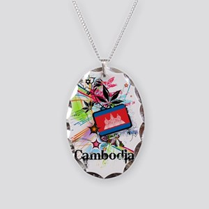 flowerCambodia1 Necklace Oval Charm