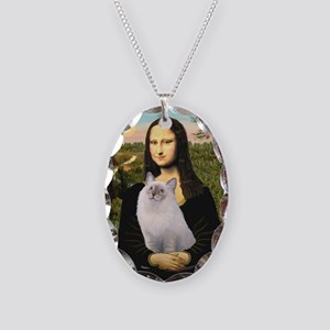 Mona & her Ragdoll Necklace Oval Charm