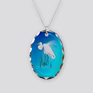 Great Egret Necklace Oval Charm