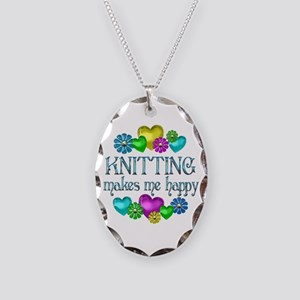 Knitting Happiness Necklace Oval Charm