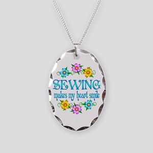 Sewing Smiles Necklace Oval Charm