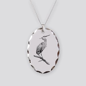 Great Blue Heron Necklace Oval Charm