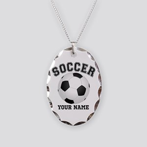 Personalized Name Soccer Necklace Oval Charm