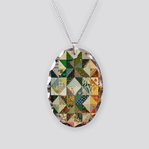 Fun Patchwork Quilt Necklace Oval Charm