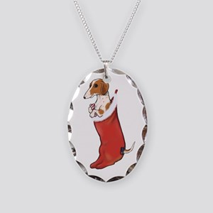 Piebald Dachshund Stocking Necklace Oval Charm