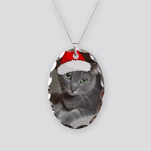 Christmas Russian Blue Cat Necklace Oval Charm