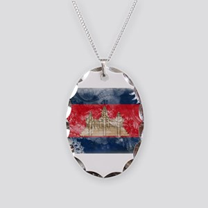 Cambodia Flag Necklace Oval Charm