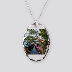 Kayaking Necklace Oval Charm