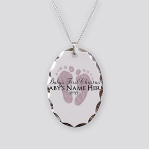Sweet Footprints - Baby's Fir Necklace Oval Charm