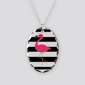 Pink Flamingo on Black and White Necklace