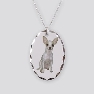 Chihuahua (Wte) Necklace Oval Charm