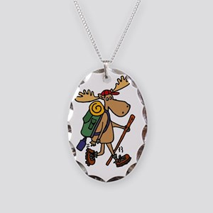 Moose Hiking Necklace Oval Charm