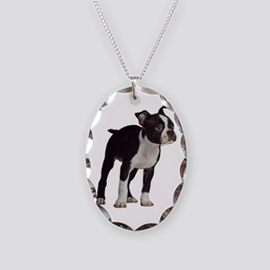 Boston Terrier Puppy Necklace Oval Charm