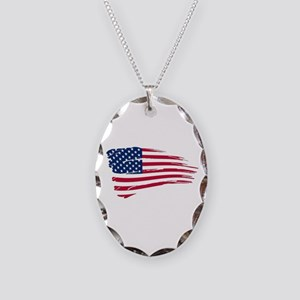 Tattered US Flag Necklace Oval Charm