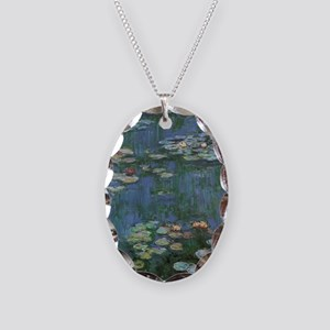 Claude Monet Water Lilies Necklace Oval Charm