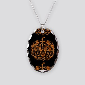 Pumpkin Damask Pattern Necklace
