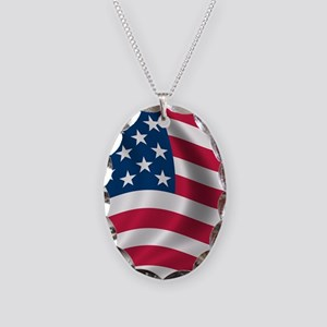 USA Flag Necklace Oval Charm