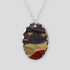 Distressed Vintage American Fl Necklace Oval Charm