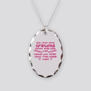 Custom grand kids Necklace Oval Charm