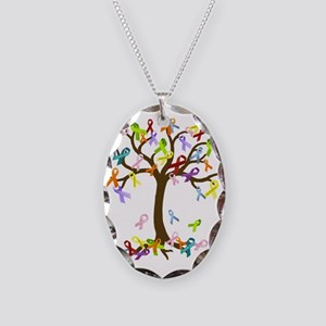Ribbon Tree Necklace Oval Charm