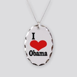 I Love Obama Necklace Oval Charm