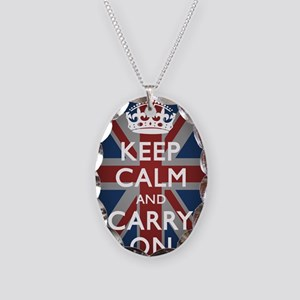 Keep Calm And Carry On Necklace Oval Charm