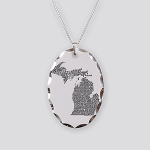 Michigan County Map Necklace Oval Charm