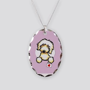 Yw Labradoodle Heart Lilac Necklace Oval Charm