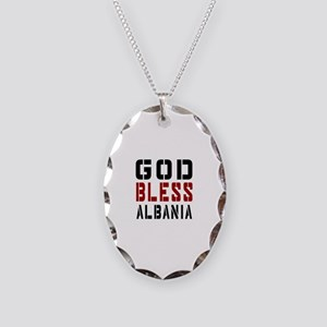 God Bless Albania Necklace Oval Charm