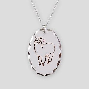 Cute Alpaca Necklace Oval Charm
