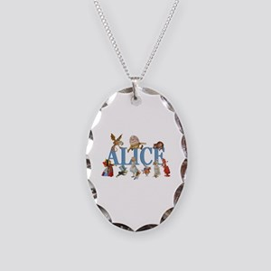 Alice in Wonderland and Friend Necklace Oval Charm