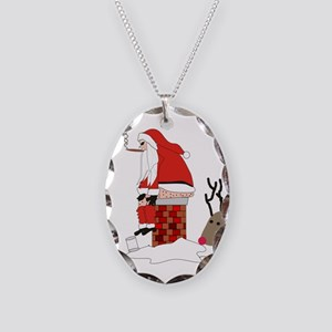 santa drawing gails Necklace Oval Charm