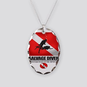 Salvage Diver 2 (back)(black) Necklace Oval Charm