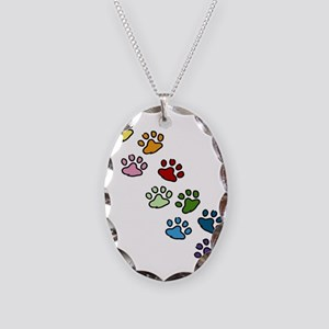 Paw Prints Necklace Oval Charm