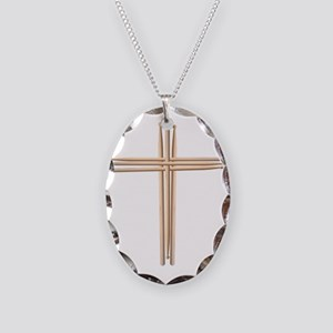 Cross - Drumsticks Necklace Oval Charm