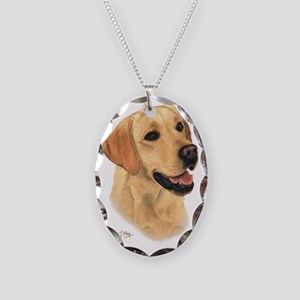 Yellow Lab 2 Necklace Oval Charm
